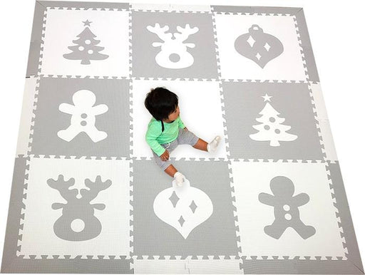 SoftTiles Christmas Theme Children's Foam Play Mat (6.5 x 6.5 feet) Light Gray and White