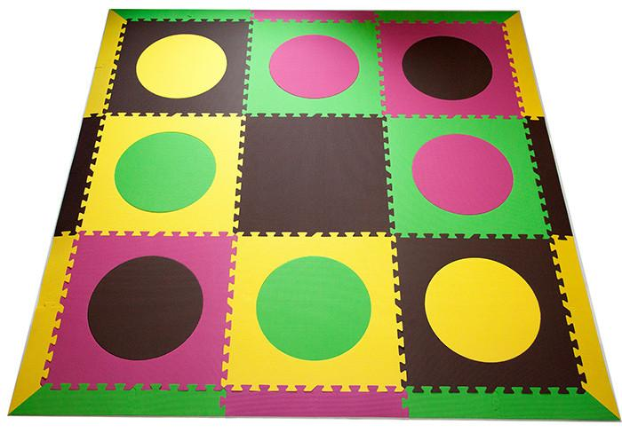 SoftTiles Circles Children's Foam Play Mat (6.5 x 6.5 feet) Yellow, Pink, Lime, Brown- BACKORDERED 1/27/21