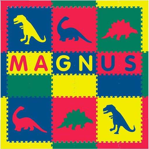 Easy Personalize- SoftTiles Dinosaur Theme Play Mat in Red, Yellow, Blue Green- 6 Letter Name 6.5 x 6.5 ft.