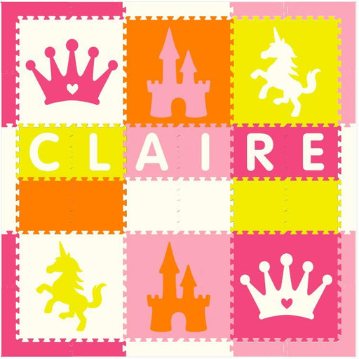 Easy Personalize- SoftTiles Princess Play Mat in Yellow, Orange, Pink, Lt Pink, White- 6 Letter Name 6.5' x 6.5'
