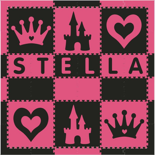 Easy Personalize- SoftTiles Princess Play Mat in Black and Dark Pink- 6 Letter Name 6.5' x 6.5'