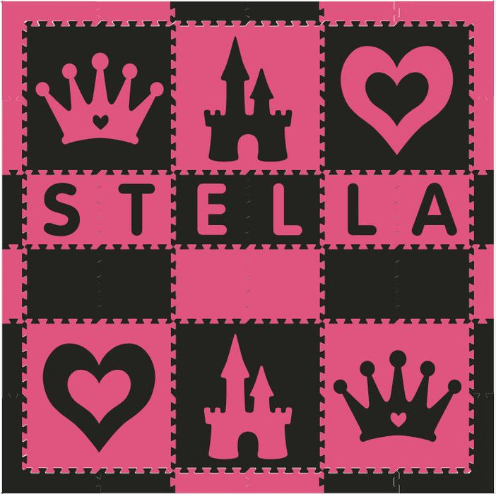 Easy Personalize- SoftTiles Princess Play Mat in Black and Dark Pink- 6 Letter Name 6.5' x 6.5'- BACKORDERED 4/1/21