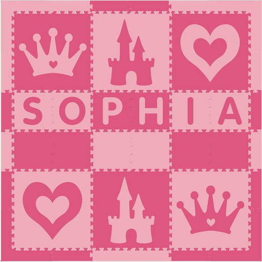 Easy Personalize- SoftTiles Princess Play Mat in Light Pink & Dark Pink- 6 Letter Name 6.5' x 6.5'