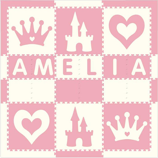 Easy Personalize- SoftTiles Princess Play Mat in Light Pink and White- 6 Letter Name- 6.5' x 6.5'