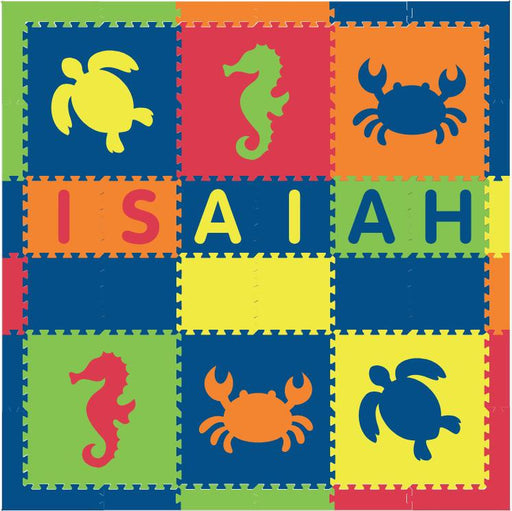 Easy Personalize- SoftTiles Sea Animals Theme Play Mat in Blue, Red, Yellow, Orange, Lime- 6 Letter Name 6.5 x 6.5 ft.