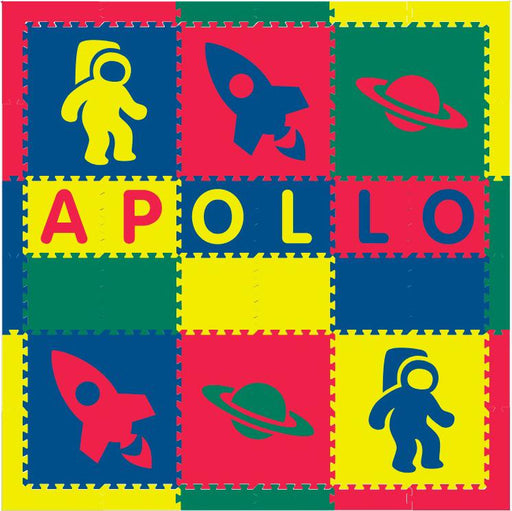 Easy Personalize- SoftTiles Space Theme Play Mat in Red, Yellow, Blue, Green- 6 Letter Name 6.5 x 6.5 ft.