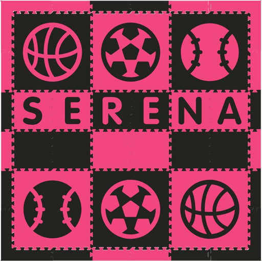 Easy Personalize- SoftTiles Sports Play Mat in Black and Dark Pink- 6 Letter Name 6.5' x 6.5'