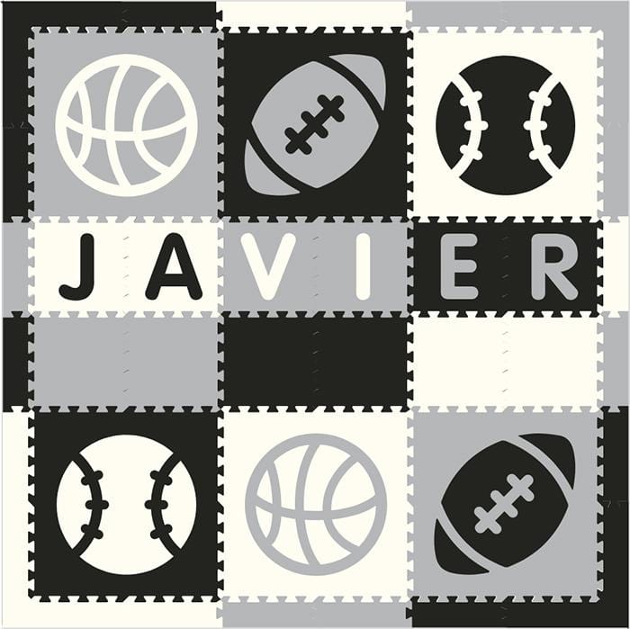 Easy Personalize- SoftTiles Sports Play Mat in Black, Light Gray & White- 6 Letter Name 6.5' x 6.5'