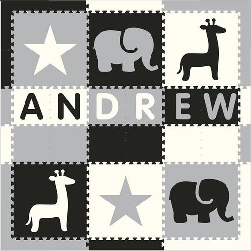 Easy Personalize- SoftTiles Stars & Safari Play Mat Blk, Wht, Lt Gray- 6 Letter Name 6.5' x 6.5'
