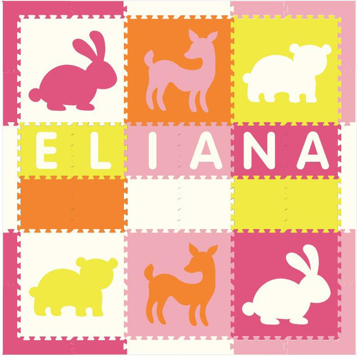 Easy Personalize- SoftTiles Woodland Animals Play Mat Lt Pink, Orange, White, Pink, Yellow-6 Letter Name 6.5' x 6.5' - BACKORDERED 4/1/21