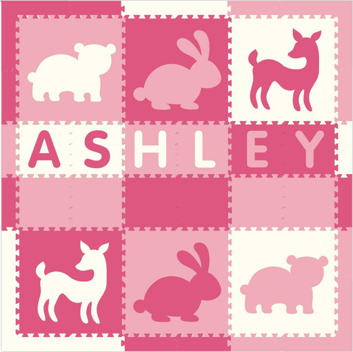 Easy Personalize- SoftTiles Woodland Animals Play Mat Pink & White-6 Letter Name 6.5' x 6.5'