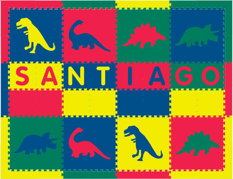Easy Personalize- SoftTiles Dinosaur Theme Play Mat in Red, Yellow, Blue, Green-8 Letter Name-6.5' x 8.5'
