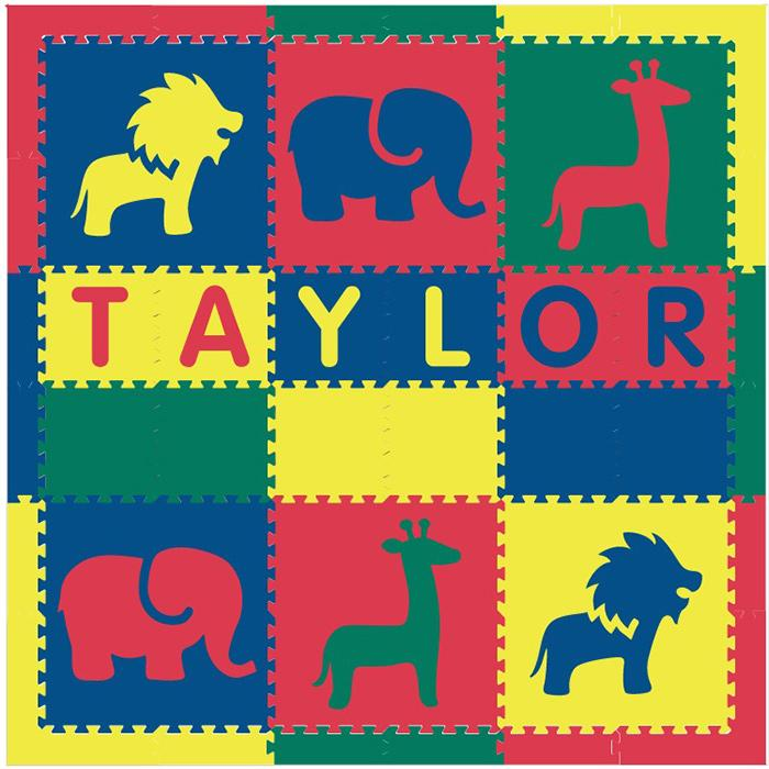 Easy Personalize- SoftTiles Safari Play Mat in Red, Yellow, Blue, Green-6 Letter Name 6.5' x 6.5'