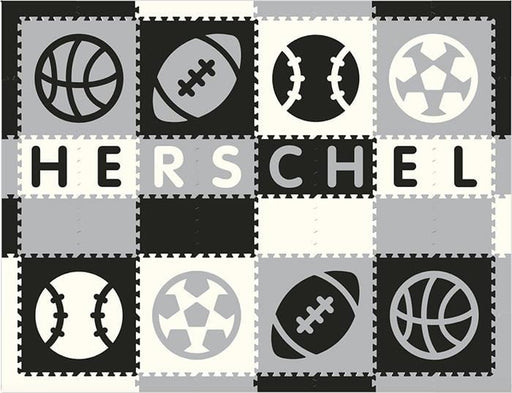 Easy Personalize- SoftTiles Sports Play Mat in Black, Light Gray & White- 8 Letter Name 6.5' x 8.5'