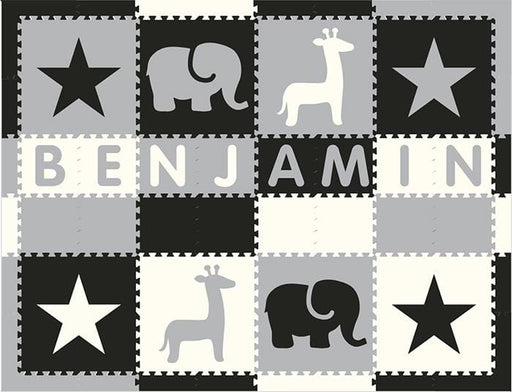 Easy Personalize- SoftTiles Stars & Safari Play Mat Blk, Wht, Lt Gray- 8 Letter Name 6.5' x 8.5'