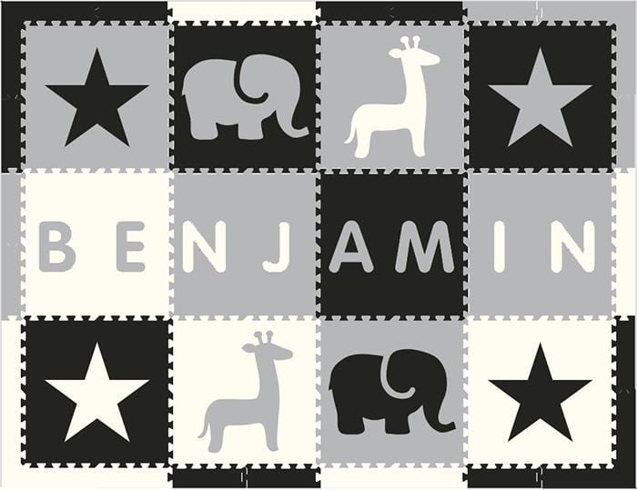 Easy Personalize- SoftTiles Stars & Safari Play Mat Blk, Wht, Lt Gray- 8 Letter Name Centered 6.5' x 8.5'