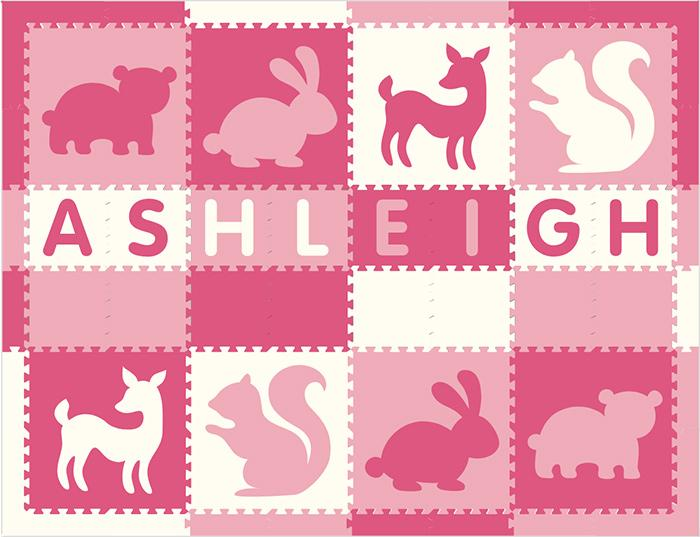 Easy Personalize- SoftTiles Woodland Animals Play Mat Pink & White-8 Letter Name 6.5' x 8.5'