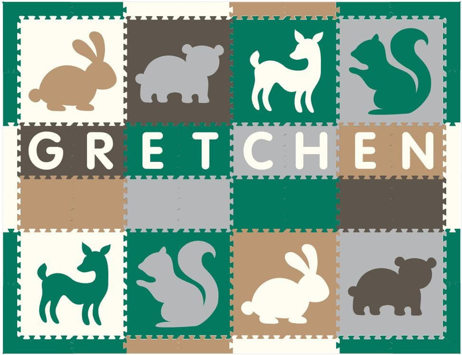 Easy Personalize- SoftTiles Woodland Animals Play Mat White, Lt. Gray, Green, Tan, Gray-8 Letter Name 6.5' x 8.5'