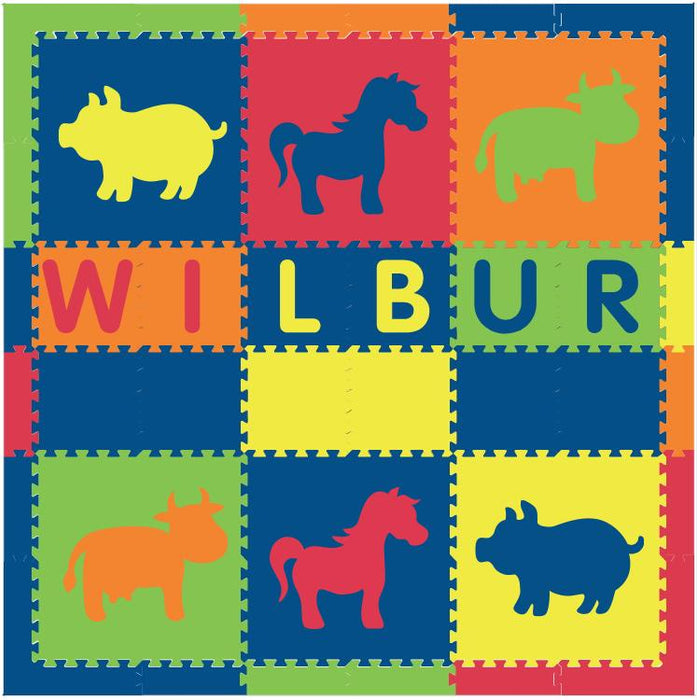 Easy Personalize- SoftTiles Farm Animals Theme Play Mat in Blue, Red, Yellow, Orange, Lime- 6 Letter Name 6.5 x 6.5 ft.