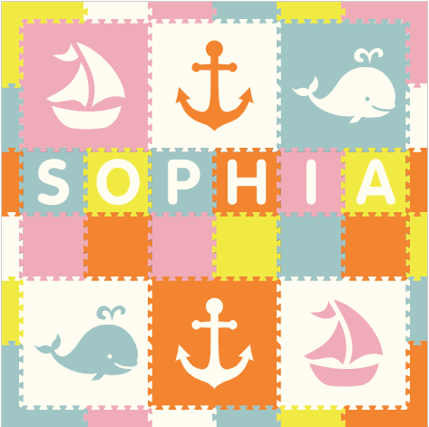 Easy Personalize- SoftTiles Nautical Theme Play Mat in Light Pink, Orange, White, Light Blue, & Yellow - 6 Letter Name 6.5 x 6.5 ft.