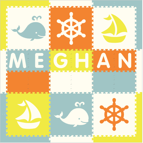 Easy Personalize- SoftTiles Nautical Theme Play Mat in Orange, White, Light Blue, & Yellow - 6 Letter Name 6.5 x 6.5 ft.