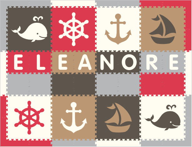 Easy Personalize- SoftTiles Nautical Theme Play Mat in Red, Gray, Light Gray, Tan, & White -8 Letter Name-6.5' x 8.5'
