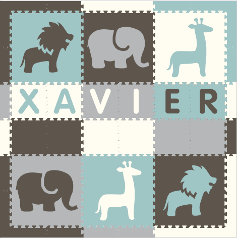 Easy Personalize- SoftTiles Safari Play Mat in Gray, White, Lt Blue, & Lt Gray -6 Letter Name 6.5' x 6.5'