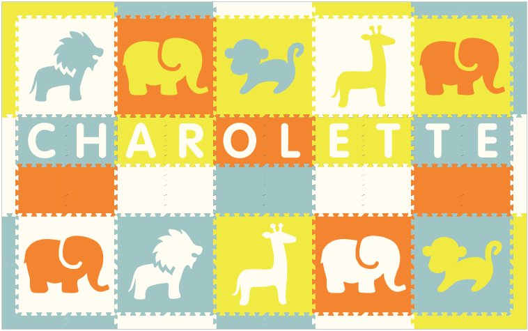 Easy Personalize- SoftTiles Safari Play Mat in Orange, White, Lt Blue, & Yellow -10 Letter Name 6.5' x 10.5'