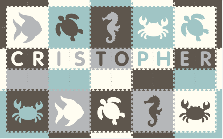 Easy Personalize- SoftTiles Sea Animals Theme Play Mat in Gray, White, Lt Blue, & Lt Gray -10 Letter Name 6.5' x 10.5'