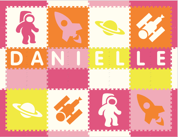 Easy Personalize- SoftTiles Space Theme Play Mat in Lt Pink, Orange, White, Pink, & Yellow -8 Letter Name-6.5' x 8.5' -BACKORDERED 4/1/21