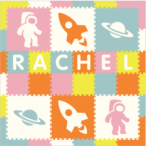 Easy Personalize- SoftTiles Space Theme Play Mat in Lt Pink, Orange, White, Lt Blue, & Yellow - 6 Letter Name 6.5 x 6.5 ft.