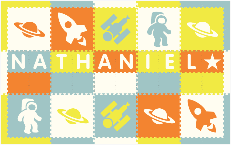 Easy Personalize- SoftTiles Space Theme Play Mat in Orange, White, Lt Blue, & Yellow -10 Letter Name 6.5' x 10.5'
