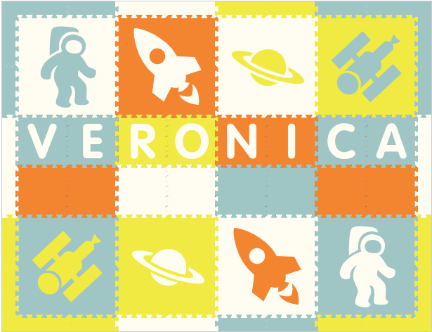 Easy Personalize- SoftTiles Space Theme Play Mat in Orange, White, Lt Blue, & Yellow -8 Letter Name-6.5' x 8.5'