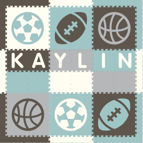 Easy Personalize- SoftTiles Sports Play Mat in Gray, White, Light Gray, and Light Blue - 6 Letter Name 6.5' x 6.5'