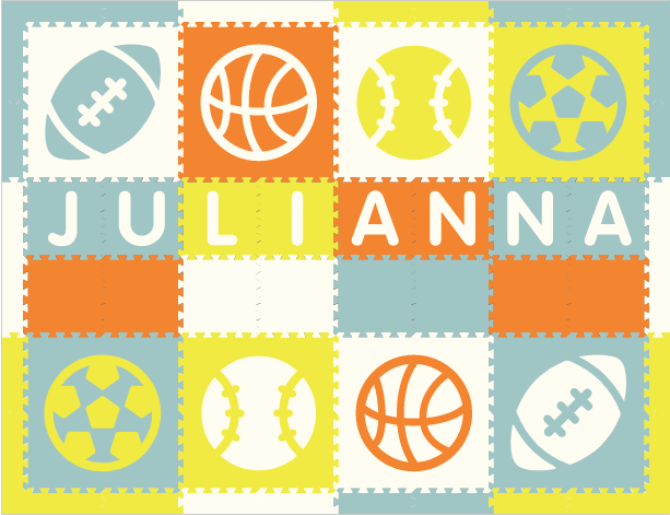 Easy Personalize- SoftTiles Sports Play Mat in Orange, White, Light Blue, & Yellow - 8 Letter Name 6.5' x 8.5'