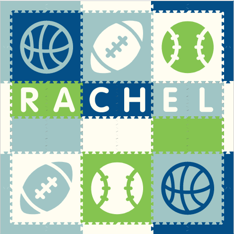 Easy Personalize- SoftTiles Sports Play Mat in White, Blue, Light Blue, & Lime - 6 Letter Name 6.5' x 6.5'
