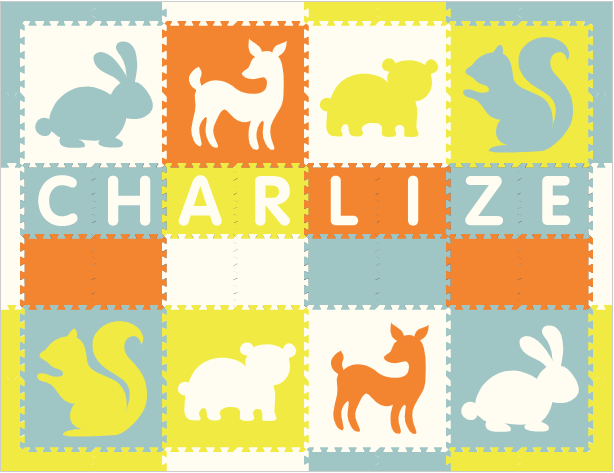 Easy Personalize- SoftTiles Woodland Animals Play Mat Orange, White, Light Blue, & Yellow -8 Letter Name 6.5' x 8.5'