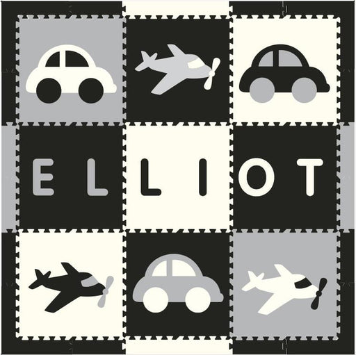 Easy Personalize- SoftTiles Transportation Play Mat Blk, Wht, Lt Gray- 6 Letter Name Centered 6.5' x 6.5'