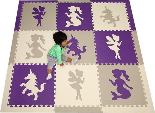 SoftTiles Fairy Unicorn Mermaid Theme Kids Foam Play Mat (6.5 x 6.5 feet) Purple, Lt. Gray, White