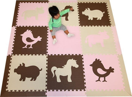 SoftTiles Farm Animals Theme Children's Play Mat (6.5 x 6.5 feet) Brown, Light Pink, Tan