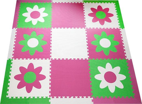 SoftTiles Flowers Children's Play Mat Set with Borders Lime, Pink, White