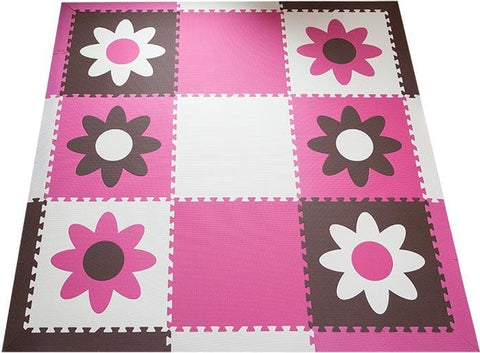 SoftTiles Flowers Children's Play Mat Set with Borders Brown, Pink, White