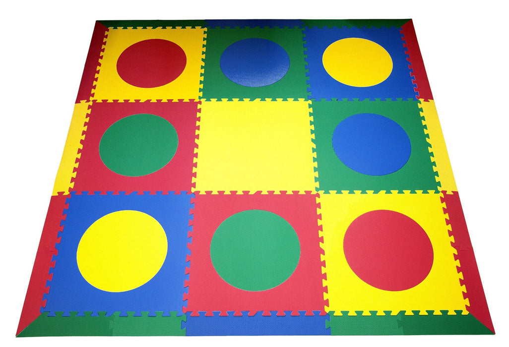 SoftTiles Circles Children's Foam Play Mat (6.5' x 6.5') with Borders Red, Yellow, Blue, Green
