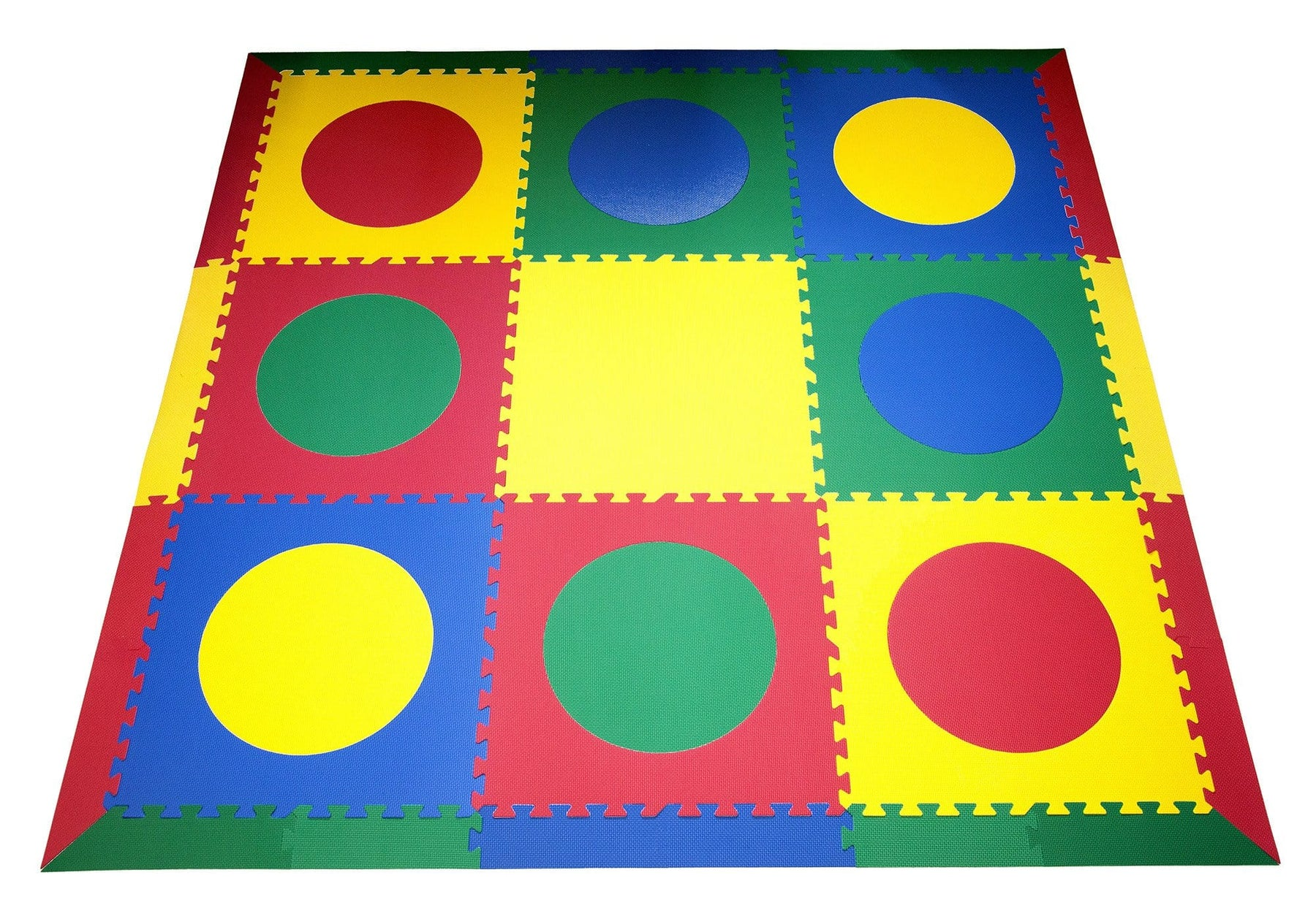 SoftTiles Circles Children's Foam Play Mat (6.5 x 6.5 feet) Red, Yellow, Blue, Green