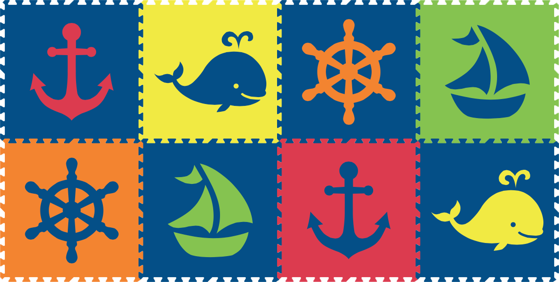 SoftTiles Nautical 8 Piece Set Blue, Red, Yellow, Orange, and Lime