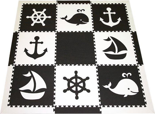 SoftTiles Nautical Theme Kids Foam Play Mat in Monochromatic Black and White