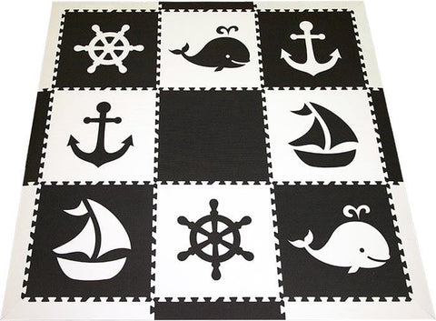 SoftTiles Nautical Theme Children's Play Mat Set with Borders Black and White