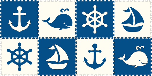SoftTiles Nautical 8 Piece Set Blue and White