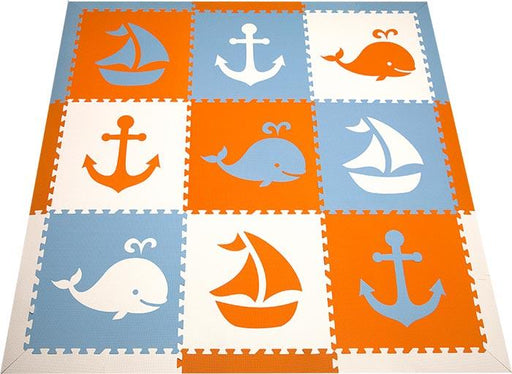 SoftTiles Nautical Theme Kids Foam Play Play Mats-Orange, Light Blue, and White