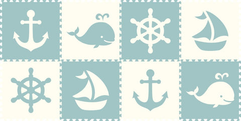SoftTiles Nautical 8 Piece Set Light Blue and White